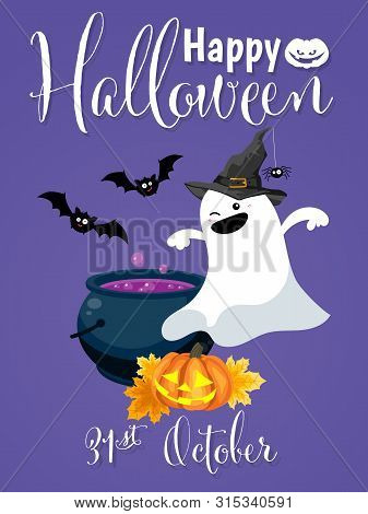 Halloween Background With Cute Ghost In Witch Costume, Halloween Pumpkin Lantern, Potion Pot And Hap