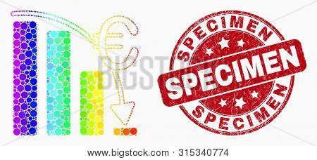 Pixelated Rainbow Gradiented Euro Crisis Chart Mosaic Icon And Specimen Stamp. Red Vector Round Grun