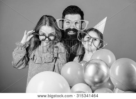 In Fancy Style. Father And Girl Children Enjoying Party Time. Happy Family Celebrating Birthday Part