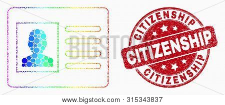 Pixelated Spectral User Card Mosaic Pictogram And Citizenship Seal Stamp. Red Vector Rounded Texture