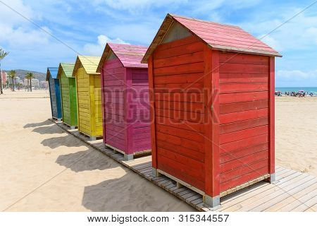 Beach Huts In Ciullera, Spain, Stock Pictures