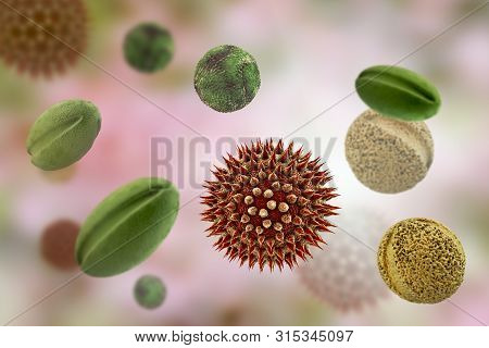 Pollen Grains From Different Plants, 3d Illustration. Factors Causing Hay Fever, Allergic Rhinitis A