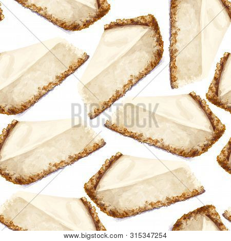 Vector Seamless Pattern Piece Of Cheesecake Cake With Airy And Tender, Delicate Creamy-curd Cheese.