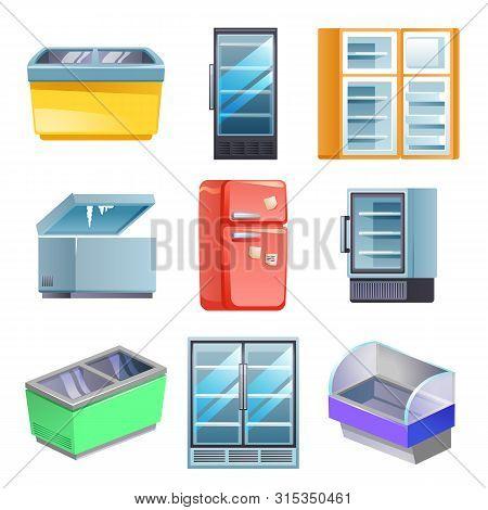 Freezer Icons Set. Cartoon Set Of Freezer Vector Icons For Web Design