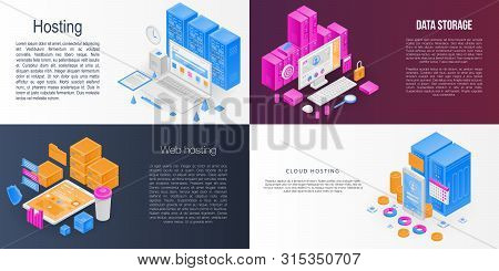 Hosting Banner Set. Isometric Set Of Hosting Banner For Web Design