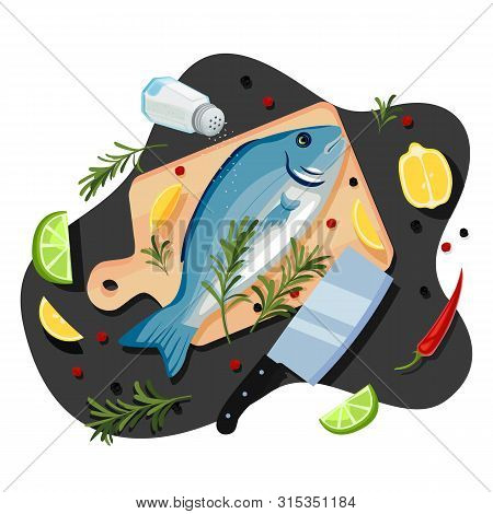 Cooking Fish Dorado, Tuna, Trout, Vector Cartoon Top View Illustration. Black Kitchen Table Backgrou