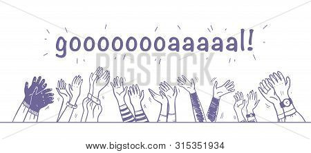 Vector Illustration Of Applause, Greeting & Congratulation With Hand Drawn Human Hands Clapping Rais