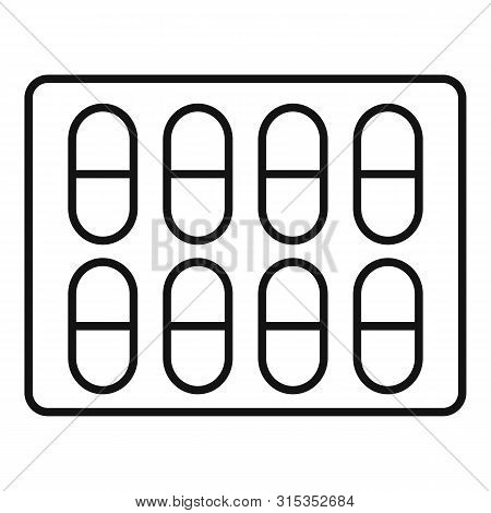 Dietary Pills Pack Icon. Outline Dietary Pills Pack Vector Icon For Web Design Isolated On White Bac