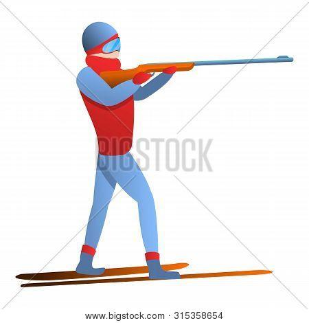 Biathlon Man Shooter Icon. Cartoon Of Biathlon Man Shooter Vector Icon For Web Design Isolated On Wh
