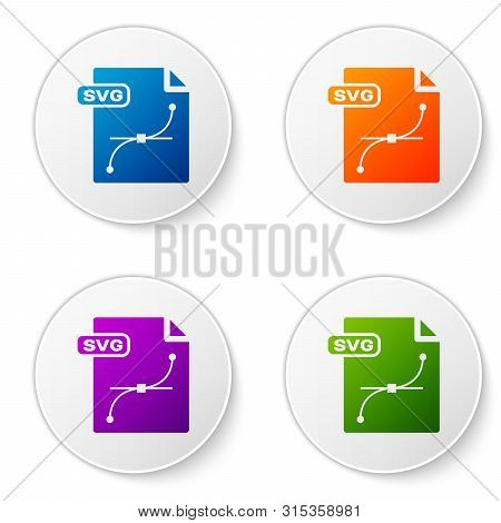Color Svg File Document. Download Svg Button Icon Isolated On White Background. Svg File Symbol. Set