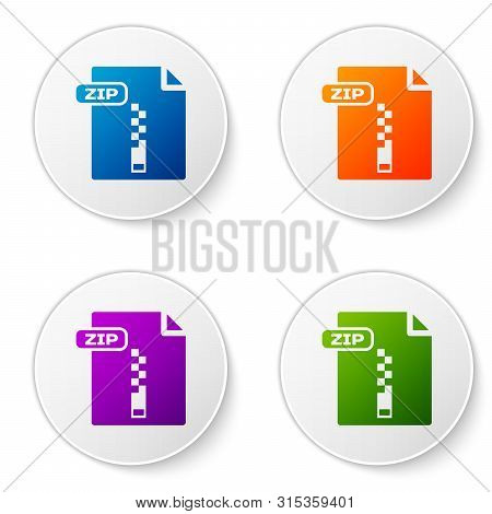 Color Zip File Document. Download Zip Button Icon Isolated On White Background. Zip File Symbol. Set