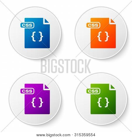 Color Css File Document. Download Css Button Icon Isolated On White Background. Css File Symbol. Set
