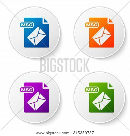 Color Msg File Document. Download Msg Button Icon Isolated On White Background. Msg File Symbol. Set