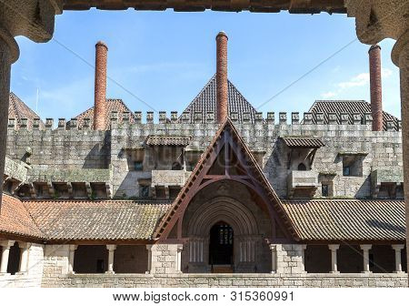 Guimaraes, Portugal - April 2018:  Courtyard The Palace Of The Dukes Of Braganza