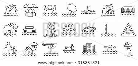 Flood Cataclysm Icons Set. Outline Set Of Flood Cataclysm Vector Icons For Web Design Isolated On Wh