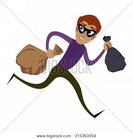 Burglar Running Icon. Cartoon Of Burglar Running Vector Icon For Web Design Isolated On White Backgr