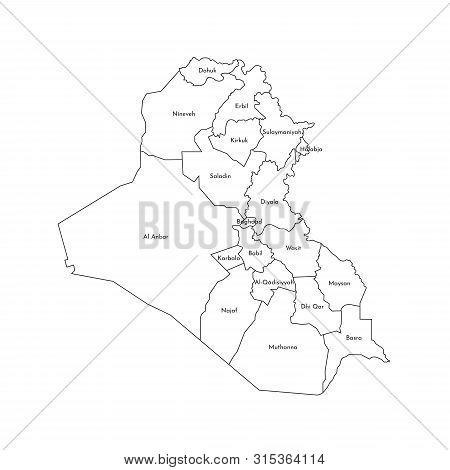 Vector Isolated Illustration Of Simplified Administrative Map Of Iraq. Borders And Names Of The Gove