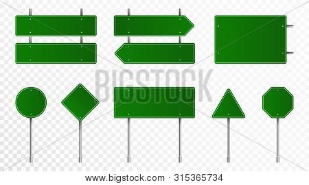Set Of Green Road Signs. Blank Traffic Signs, Highway Boards, Signpost And Signboard. Realistic Traf