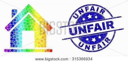 Pixelated Rainbow Gradiented Home Mosaic Pictogram And Unfair Seal. Blue Vector Round Textured Water