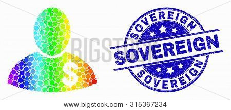 Pixelated Bright Spectral Banker Mosaic Icon And Sovereign Seal. Blue Vector Round Grunge Seal Stamp