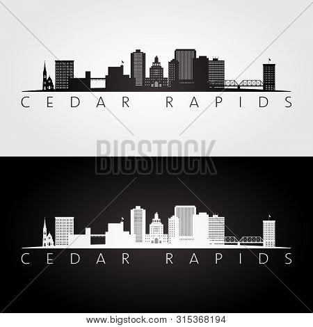 Cedar Rapids, Iowa Usa Skyline And Landmarks Silhouette, Black And White Design, Vector Illustration