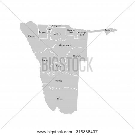 Vector Isolated Illustration Of Simplified Administrative Map Of Namibia. Borders And Names Of The R