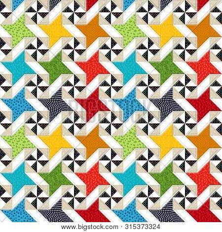 Patchwork, Beautiful Quilt Design With Star Motive