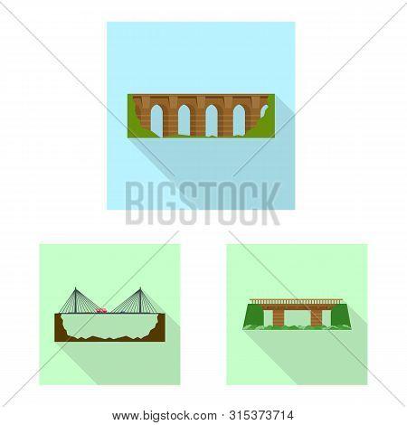 Vector Design Of Bridgework And Bridge Icon. Set Of Bridgework And Landmark Stock Symbol For Web.