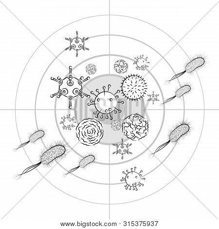 Influenza Viruses And E Coli Bacteria. Black And White Vector Illustration. Isolated On White Backgr