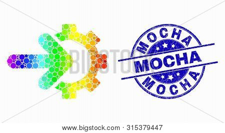 Dotted Bright Spectral Cog Arrow Integration Mosaic Icon And Mocha Seal Stamp. Blue Vector Round Tex