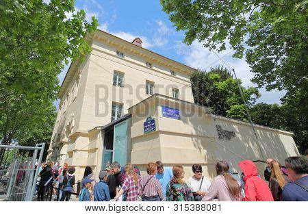 Paris France - May 25, 2019: Unidentified People Queue To Enter Catacombes Paris France