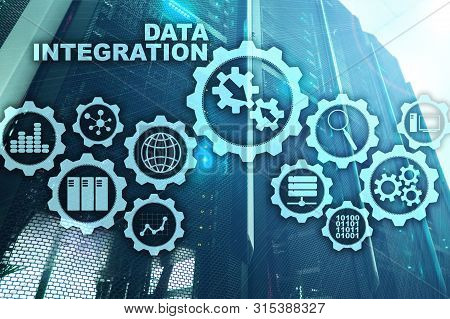 Data Integration Business Information Technology Concept On Server Room Background