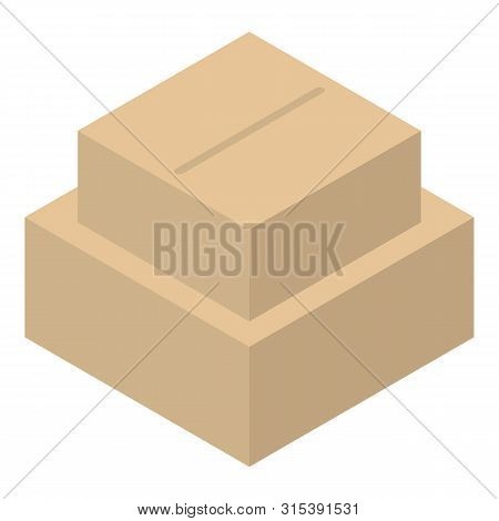 Carton Box Stack Icon. Isometric Of Carton Box Stack Vector Icon For Web Design Isolated On White Ba