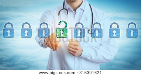 Torso Of Young Doctor Unlocking One Virtual Lock In A Lineup Of Eight Padlocks Above Cloudscape. Con