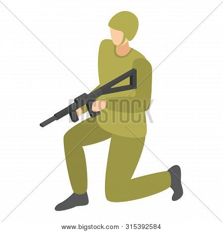 Infantry Soldier Icon. Isometric Of Infantry Soldier Vector Icon For Web Design Isolated On White Ba