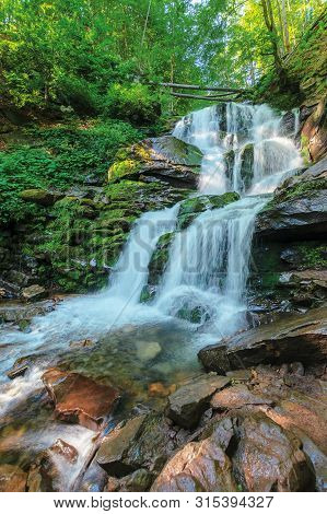 Carpathian Waterfall Shypot In The Morning. Beautiful Nature Scenery. Popular Tourist Attraction Of
