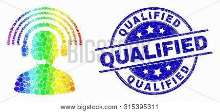Pixel Bright Spectral Radio Operator Mosaic Icon And Qualified Seal Stamp. Blue Vector Round Distres