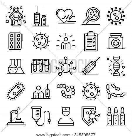 Immunization Icons Set. Outline Set Of Immunization Vector Icons For Web Design Isolated On White Ba