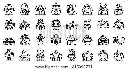 Robot-transformer Icons Set. Outline Set Of Robot-transformer Vector Icons For Web Design Isolated O