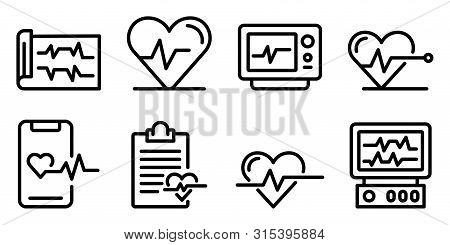 Electrocardiogram Icons Set. Outline Set Of Electrocardiogram Vector Icons For Web Design Isolated O