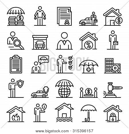 Insurance Agent Icons Set. Outline Set Of Insurance Agent Vector Icons For Web Design Isolated On Wh