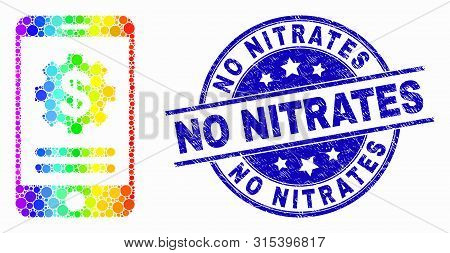 Pixelated Rainbow Gradiented Mobile Financial Options Mosaic Icon And No Nitrates Seal. Blue Vector