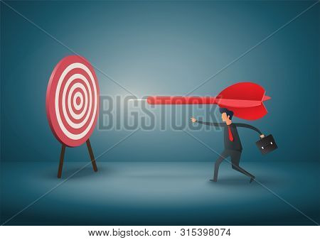 Business Objective And Strategy. Business Concept. Businessman Throwing Dart At Target. Symbol Of Bu
