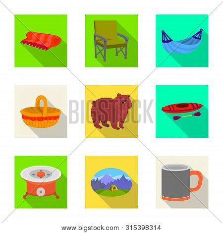 Isolated Object Of Cookout And Wildlife Sign. Set Of Cookout And Rest Stock Symbol For Web.