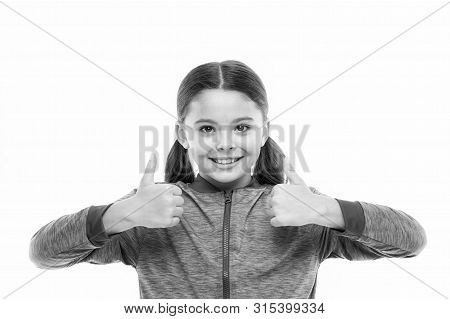 This Is Awesome. Thumbs Up Approvement. Girl Cute Child Show Thumbs Up Gesture. Gifts Your Teens Wil