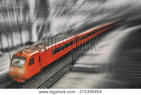 Red Train On A Monochrome Black And White Background - Illustration Of A Processed Photo. Aeroexpres