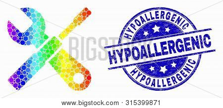 Pixelated Rainbow Gradiented Setup Tools Mosaic Icon And Hypoallergenic Stamp. Blue Vector Round Dis