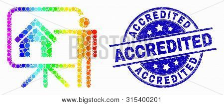 Dotted Spectral Realtor Public Report Mosaic Icon And Accredited Seal. Blue Vector Round Scratched S