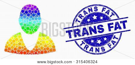 Dotted Rainbow Gradiented User Mosaic Icon And Trans Fat Seal Stamp. Blue Vector Rounded Grunge Seal