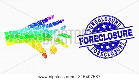 Dotted Bright Spectral Hand Wound Mosaic Pictogram And Foreclosure Seal Stamp. Blue Vector Rounded T